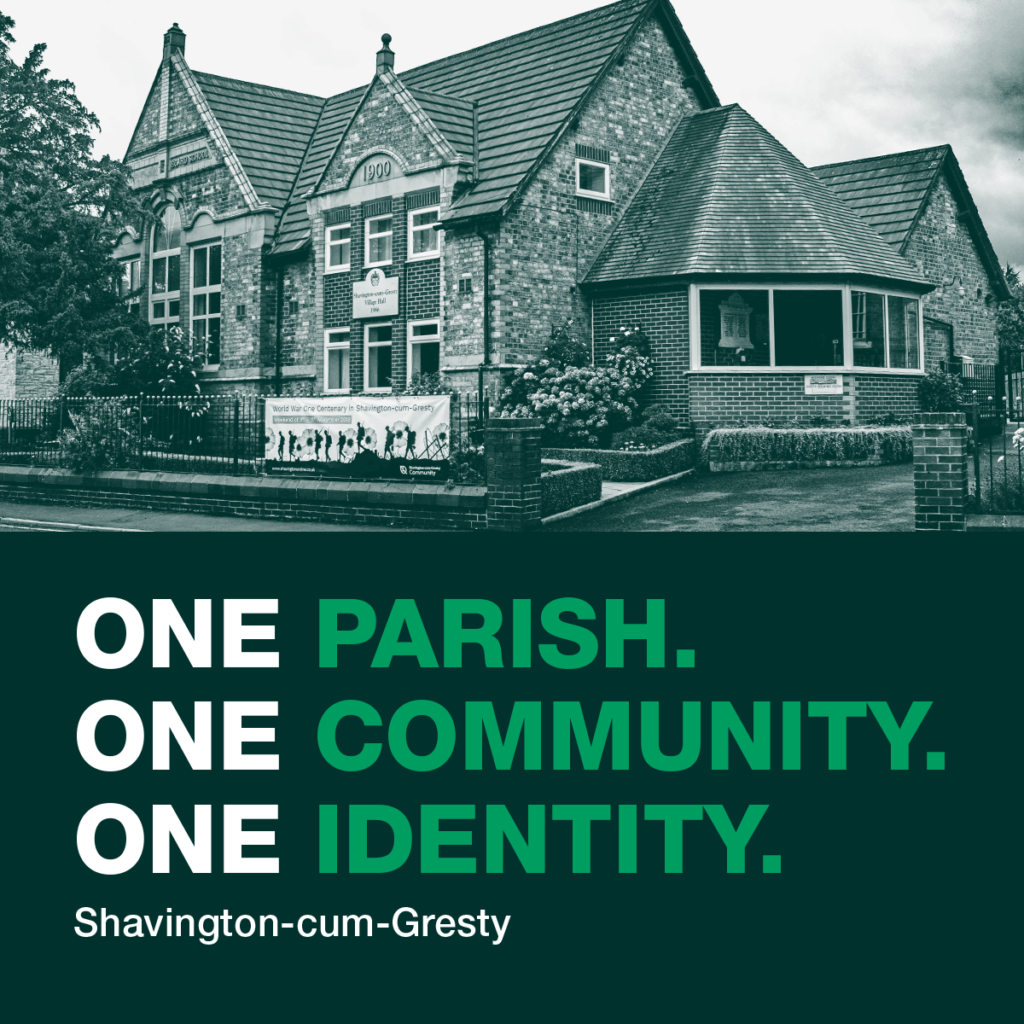 Photograph of shavington village hall with text saying one parish, one community, one identity infront of it